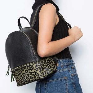 Arezzo Black and cheetah print leather Backpack